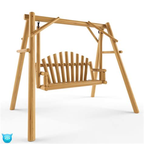 wooden swing seats multiple seats wooden swing 2 3d model max obj cgtrader com