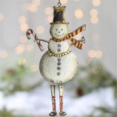 rustic dangly snowman ornament christmas and holiday