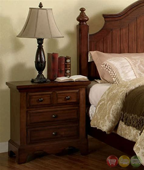 Light Walnut Bedroom Furniture Palm Coast Distressed Light Walnut Panel Bedroom Set With Antique Gold Knobs Cm7888