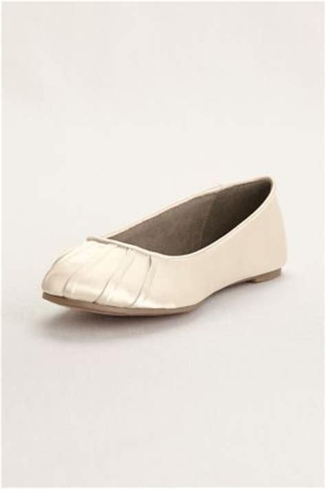 dyeable flat shoes pleated toe dyeable satin ballet flat david s bridal