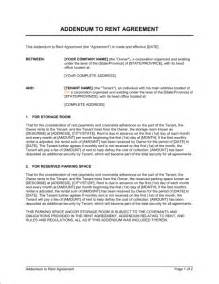 Contract Addendum Template by Addendum To Rent Agreement Template Sle Form