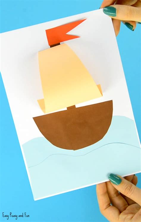 paper canoe craft simple paper boat craft easy peasy and
