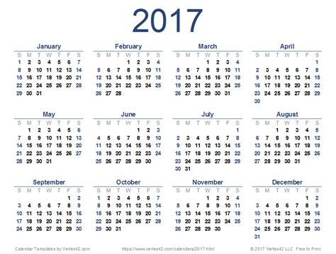 Whole Year Calendar 2017 Free Calendar 2017 Printable Template Pdf Calendar 2017