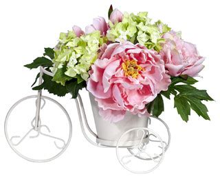 artificial flower arrangements for bathroom peony and hydrangea tricycle silk flower arrangement