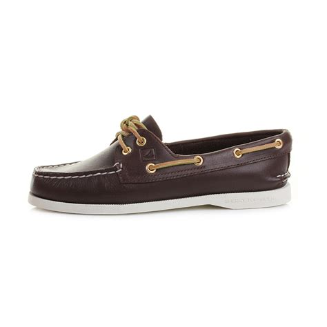 womens leather boat shoes womens sperry authentic original a o 2 eye brown leather