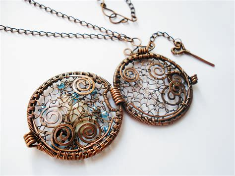 wire wrapping jewelry pendant handmade with copper wire