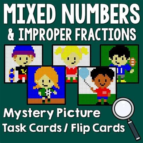 printable mixed number cards mixed numbers and improper fractions mystery picture with