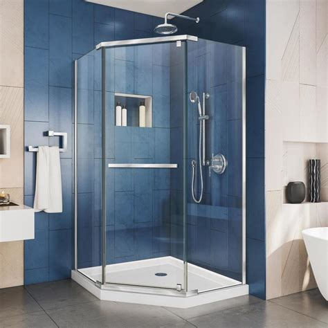 Shower Doors Accessories Shop Dreamline Prism 34 125 In To 34 125 In Frameless Chrome Hinged Shower Door At Lowes