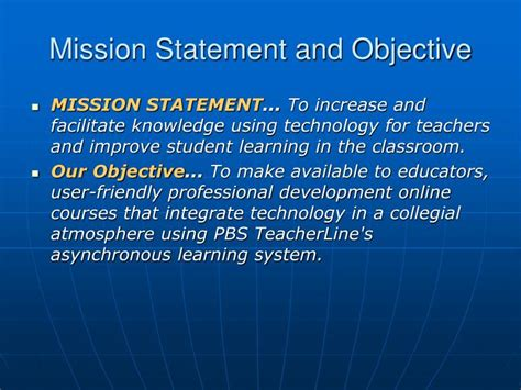 mission statement and objectives ppt pbs teacherline powerpoint presentation id 4491460
