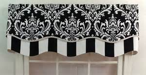 Black And Grey Window Valance Damask Layered Shaped Valance In Black Navy Or Grey By