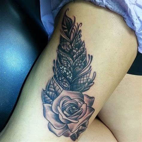 rose and feather tattoo and feather tattoos creativefan