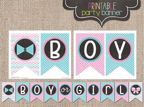 printable gender reveal banner ink obsession designs gender reveal party printable