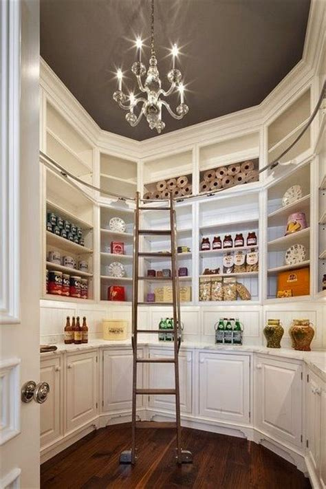 Pantry Ladder by Walk In Pantry With Painted Gray Ceiling Chandalier And