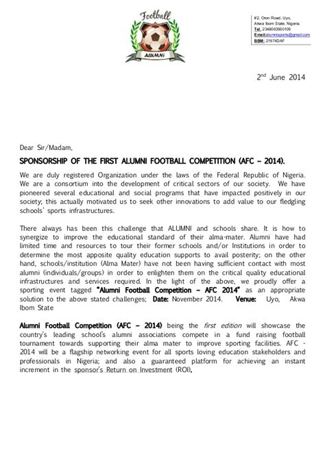 Sponsor Letter For League Alumni Football Competition Afc 2014 Registration Package Spons