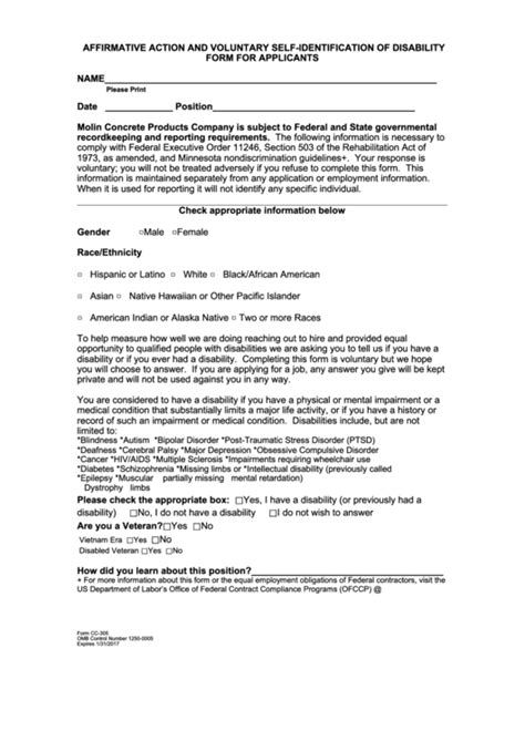 Affirmative Action And Voluntary Self Identification Of Affirmative Voluntary Self Identification Form Template