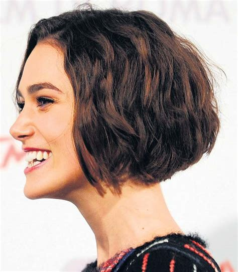 vies of side and back of wavy bob hairstyles keira knightley bob side view unstraightened cute hair