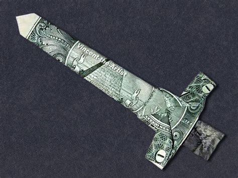 Origami Sword - dollar origami sword money dollar origami