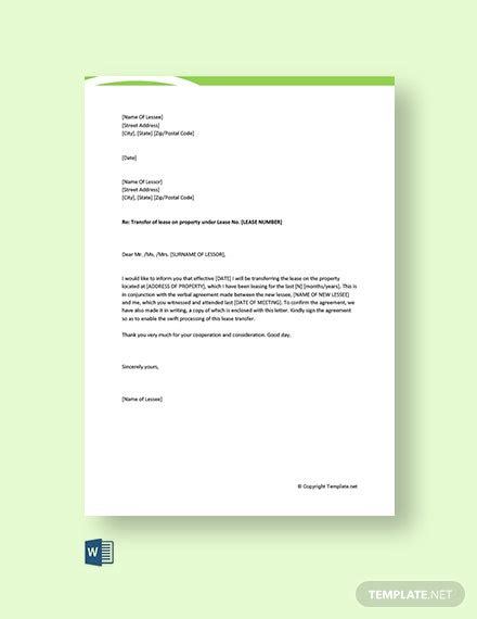 transfer letter templates word google docs