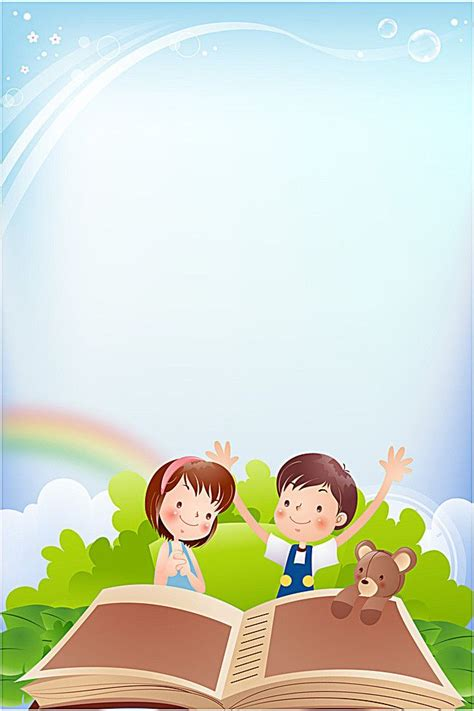 background blue cartoon children gerel school frame