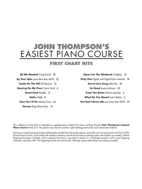 libro easiest piano course part john thompson s easiest piano course first chart hits piano libros partituras y cancioneros