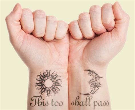 matching sun and moon tattoos 12 this shall pass ideas