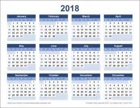 2018 Calendar   free excel templates