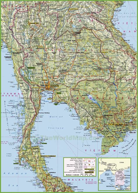 map thailand large detailed map of thailand with cities and towns