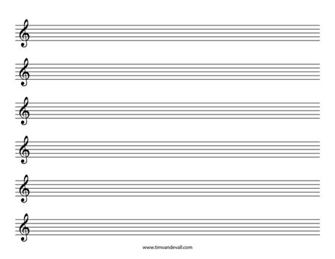 Blank Sheet Treble Clef tim de vall comics printables for