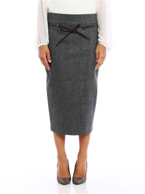 herringbone wool pencil skirt by brunello cucinelli knee