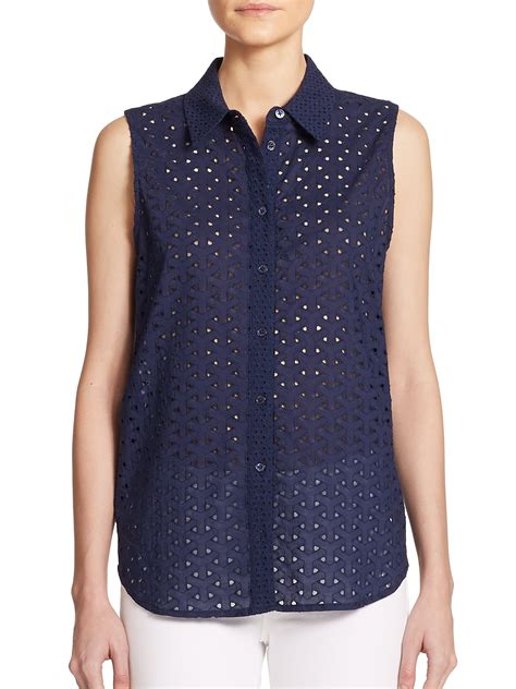 beatrice ii eyelet tie shirt navy lyst equipment colleen cotton eyelet sleeveless blouse