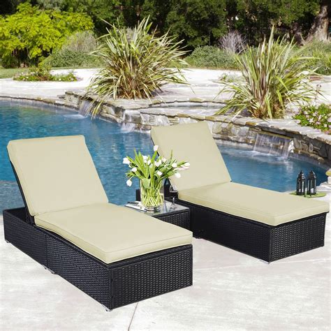 outdoor wicker lounge furniture convenience boutique outdoor chaise lounge chair patio furniture set wicker rattan black 3