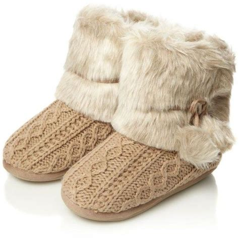 boot house shoes beige cable knitted faux fur boot slippers 32 liked on polyvore style pinterest