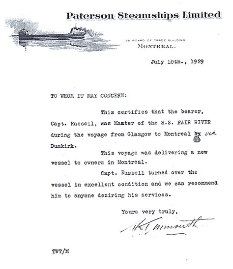 Recommendation Letter For Seaman Employment Waughfamily Ca The Family Captain Robert Seaman S Documents