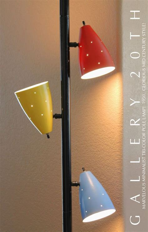 mid century tension pole atomic mid century tri color tension pole lamp triennale