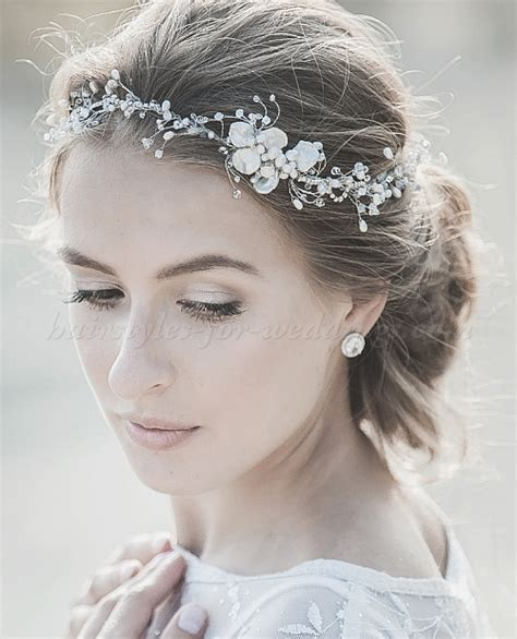 bridal headbands   pearl wedding headband   Hairstyles for