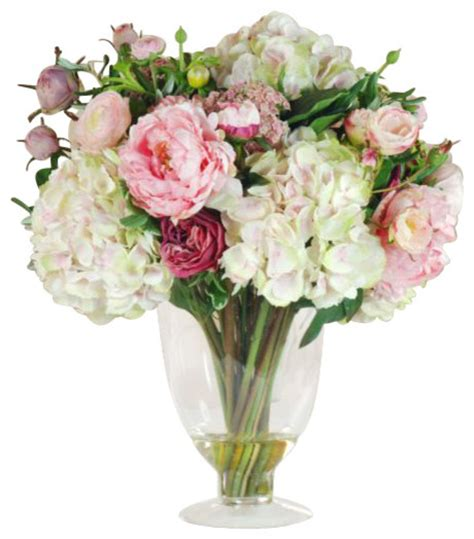 Artificial Flowers In Vase by Garden Flowers In Glass Flower Arrangement Traditional