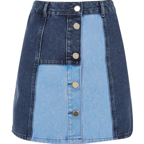 Denim Patchwork Skirt - river island blue patchwork denim skirt in blue lyst
