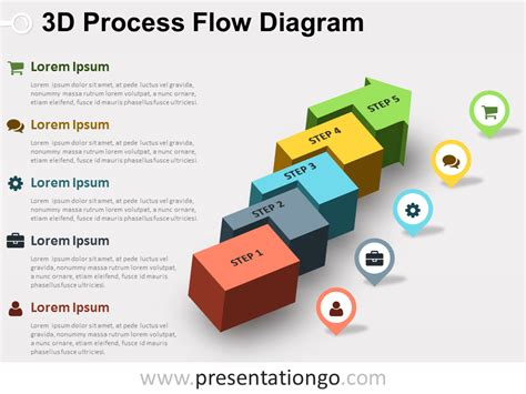 free 3d process flow diagram for powerpoint with colored