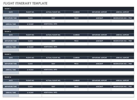 flight schedule template free itinerary templates smartsheet