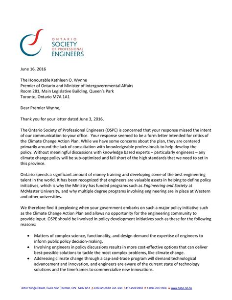 Letter Of Intent Ontario Sle Letters To Premier Wynne Ontario Society Of Professional Engineers