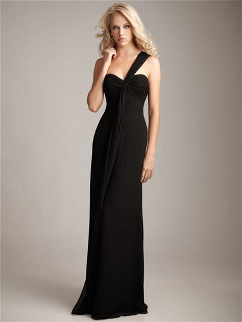 Floor Length Black Chiffon Dress by Formal Sweetheart One Shoulder Floor Length Black