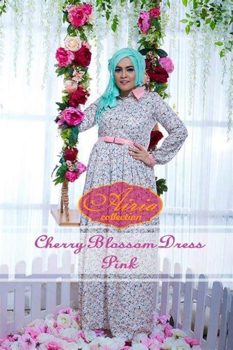 Elegance Dress Busui cherry blossom pink baju muslim gamis modern