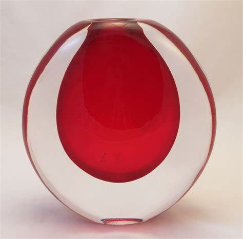 Martini Glass Vase Murano Glass Red Cystal Vase Murano Glass Murano Glass