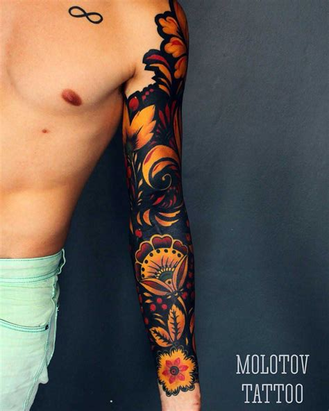 cool sleeve tattoo designs russian ethnic sleeve bald hairstyles ornament