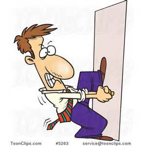 Cartoon open door man trying to open a door