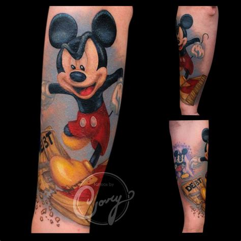 mickey mouse stomping debt by cory claussen tattoos