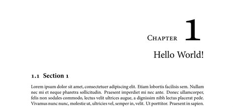 latex tutorial hello world sectioning chapter and section number in margin and