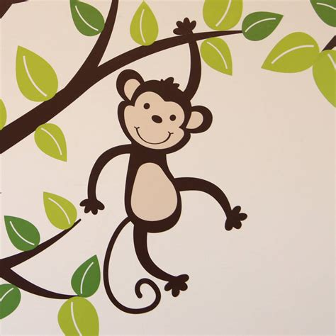 monkey wall sticker personalised monkey tree wall stickers by parkins