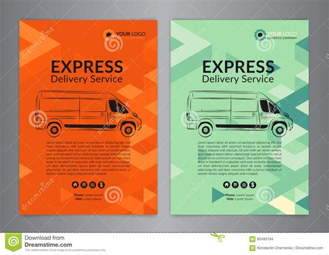 delivery flyer template set a4 express delivery service brochure flyer design
