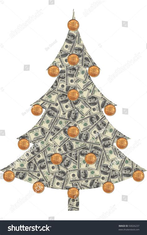 christmas tree made of dollar bills with coins instead of